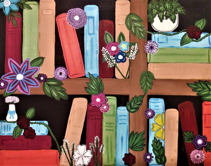 Floral Bookshelf - Morgan's Painted Originals