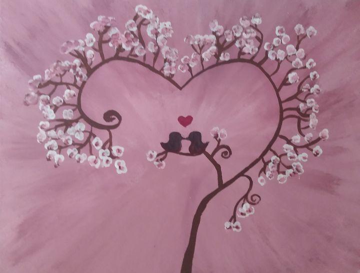 Pink cherry blossom love bird - Morgan's Handpainted Creations