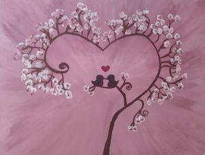 Pink cherry blossom love bird