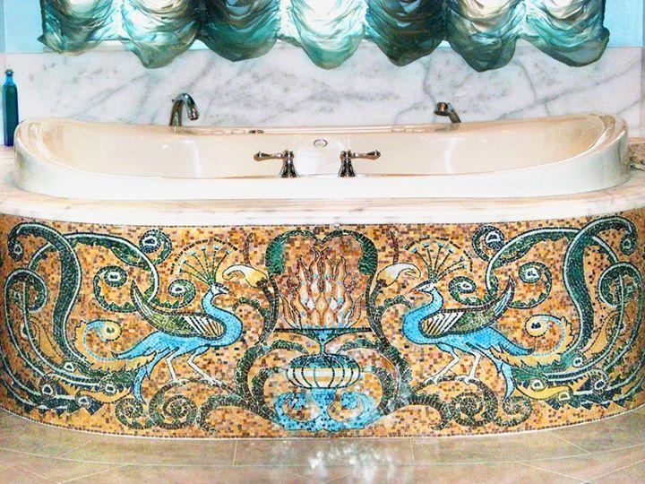Peacock bathroom mural - Mosaic Marble gallery