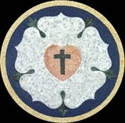 Cross and heart in flower sha - Mosaic Marble gallery
