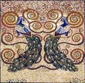 Colorful peacock symmetry mosaic - Mosaic Marble gallery