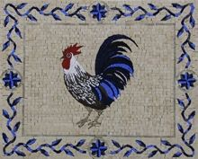 Blue Funky Rooster - Mosaic Marble gallery