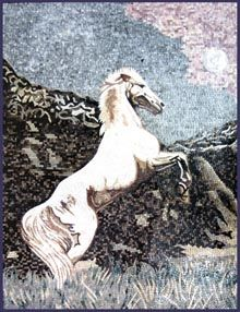 Majestic white jumping horse - Mosaic Marble gallery