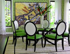 Green mosaic dinning room