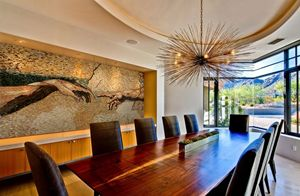 Iron wood mosaic dinning room