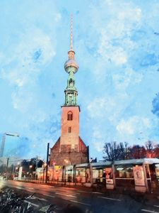 Berlin St.Mary's Church and TV Tower