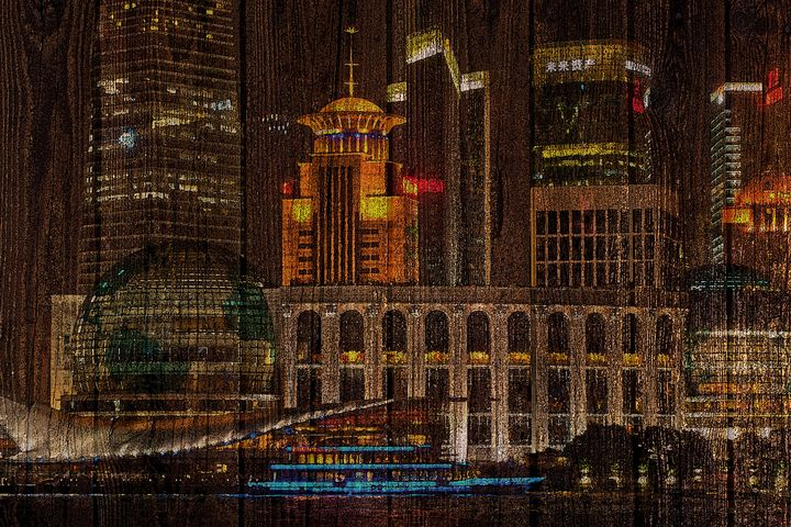 Skyline of Shanghai, China on Wood - alexmir