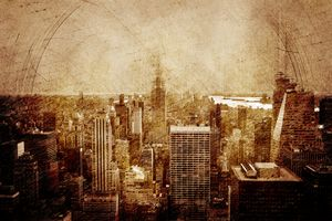 Vintage skyline of Manhattan