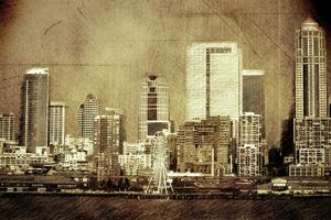 Vintage skyline of Seattle