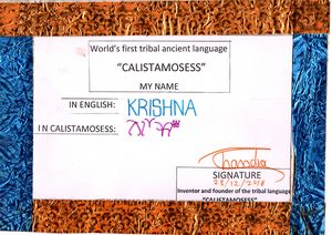 """KRISHNA"" in CALISTAMOSESS"