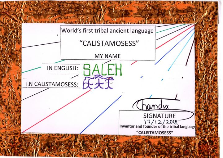 """SALEH"" written 1st in CALISTAMOSESS - CALISTAMOSESS"