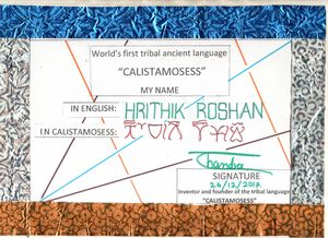 HRITHIK ROSHAN in CALISTAMOSESS