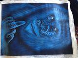 rude gorilla on canvas painting