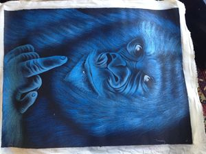 Ape rude finger painting on canvas