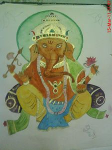 Ganesha water color paint
