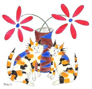 Calico Cats Vase and Flowers