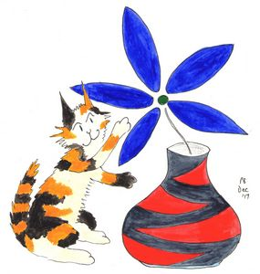 Calico Cat and Blue Flower