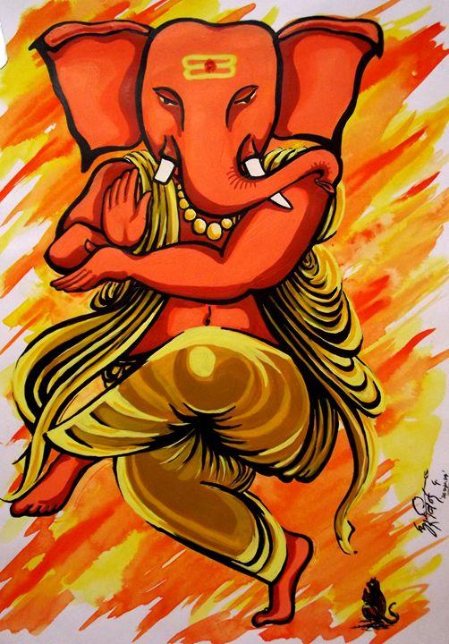 Ganesha - Dancing mood - Arvind Gairola's collection of Art