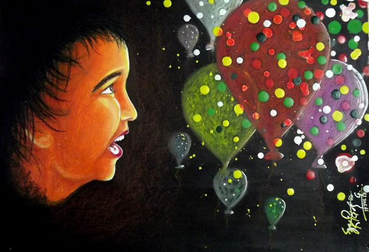 Boy & his Baloons - Arvind Gairola's collection of Art