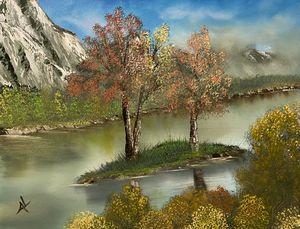 Mountain River Island - Adam Lashley (AL) Oil Paintings