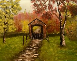 The Old Covered Bridge - Adam Lashley (AL) Oil Paintings
