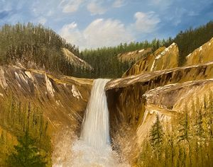 Montana Waterfall - Adam Lashley (AL) Oil Paintings