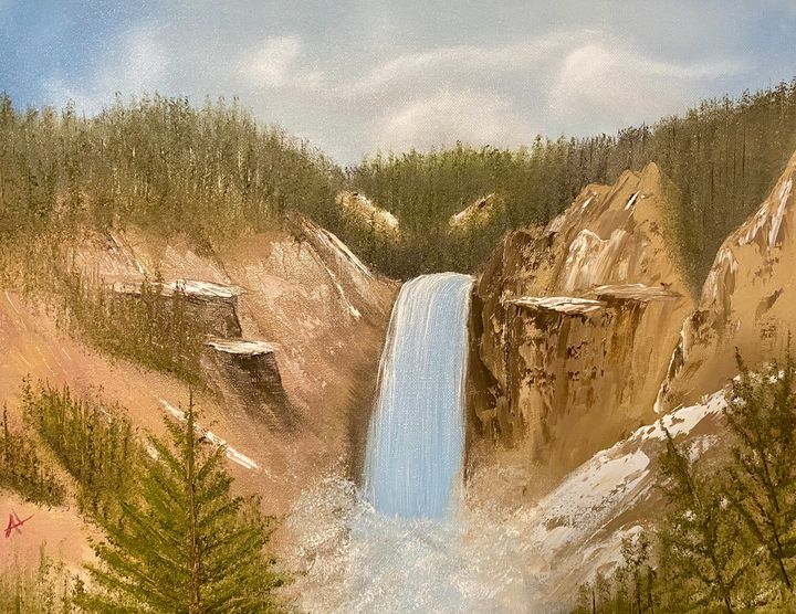 Montana Falls - Adam Lashley (AL) Oil Paintings