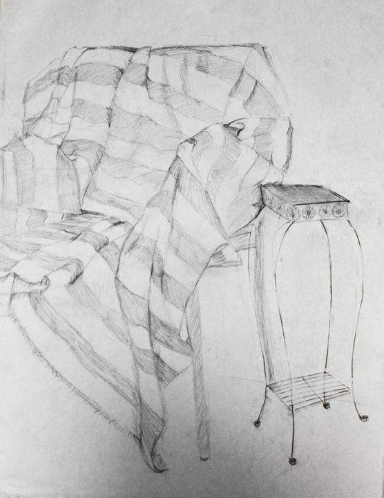 Chair with Blanket - Ashley Burriss Art