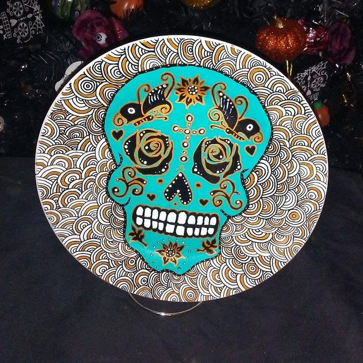 Turquoise/Gold Sugar Skull Plate - An Artsy Eye