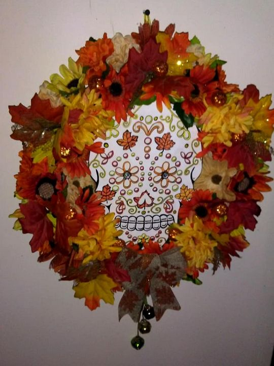 Lighted Sugar Skull Fall Wreath - An Artsy Eye