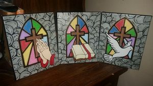 Stain glass 3pc Religious