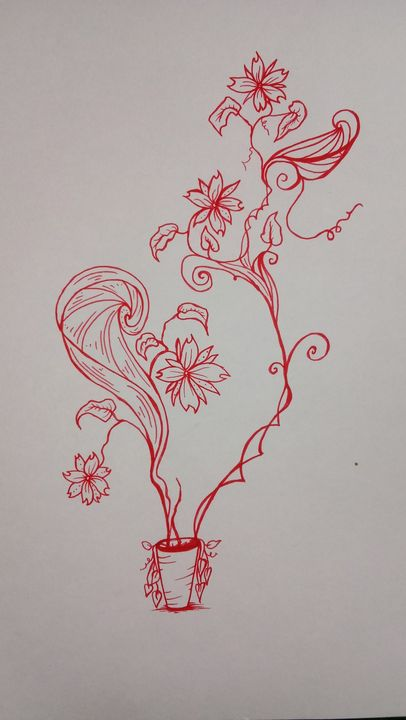 Red flower - Cheryls sharpie creations