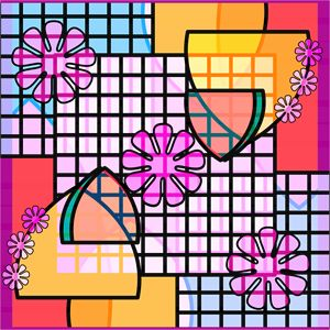 Abstract Flowers, Grids, and Badges