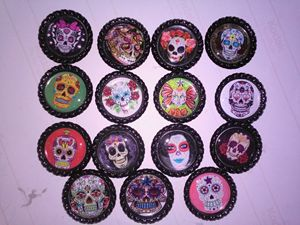 Day of The Dead  Bottle Cap Magnets