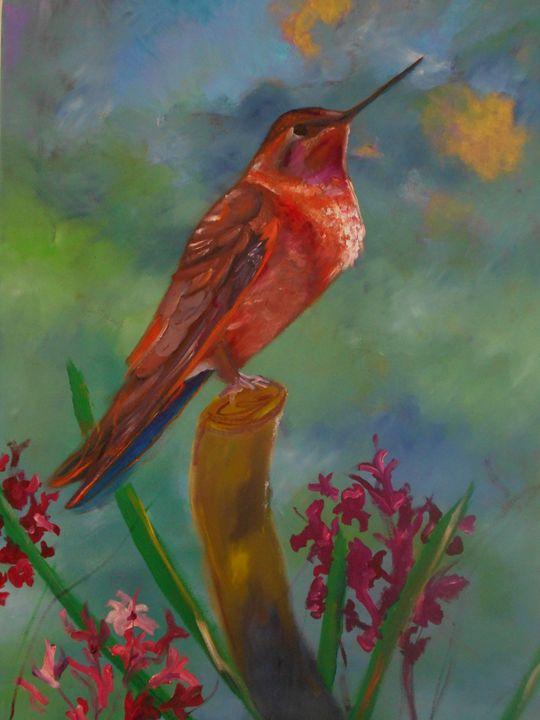 Perched Hummingbird - Mike Skiff Paintings