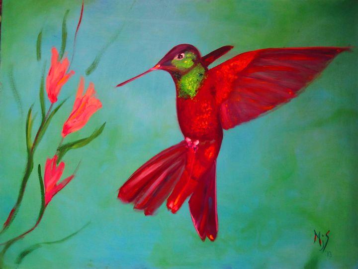Red Hummingbird - Mike Skiff Paintings