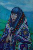 Asian girl colorfully bundled up