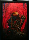 48.75 x 28.75 inch framed painting.