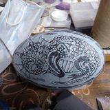 Hand carved Emu Eggshell