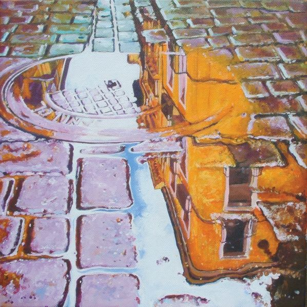 How deep is a puddle? Acrylics. 30cm - Collectable Art