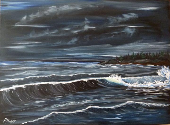 Angry Sea at Night - rwoollett
