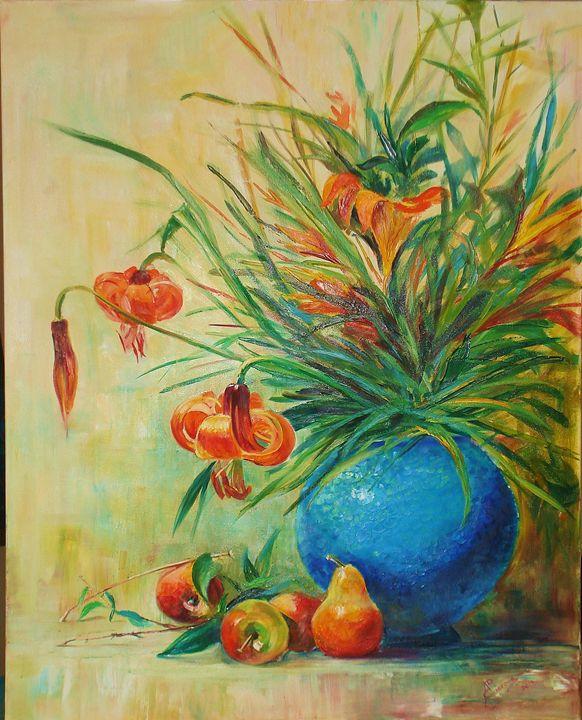 natura morta con fiori e frutta - olio su tela