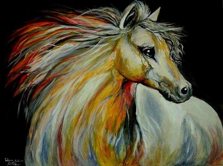 White Wild Female Horse - Rana Al Rawi
