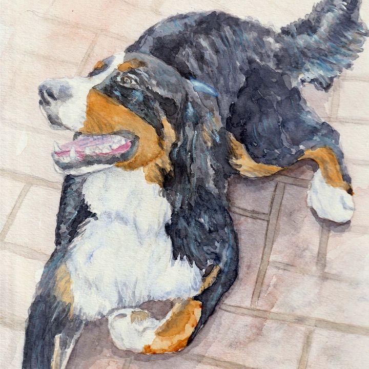 Bernese Mountain Dog art print - Lucie Mizutani