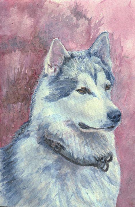 Siberian Husky watercolor print - Lucie Mizutani
