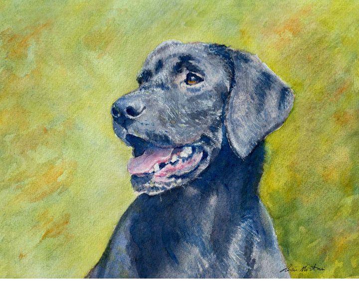 Black Labrador in watercolor - Lucie Mizutani