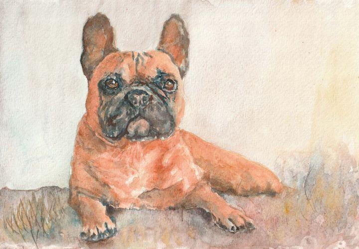 French Bulldog from watercolor - Lucie Mizutani