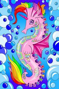 Rainbow unicorn seahorse