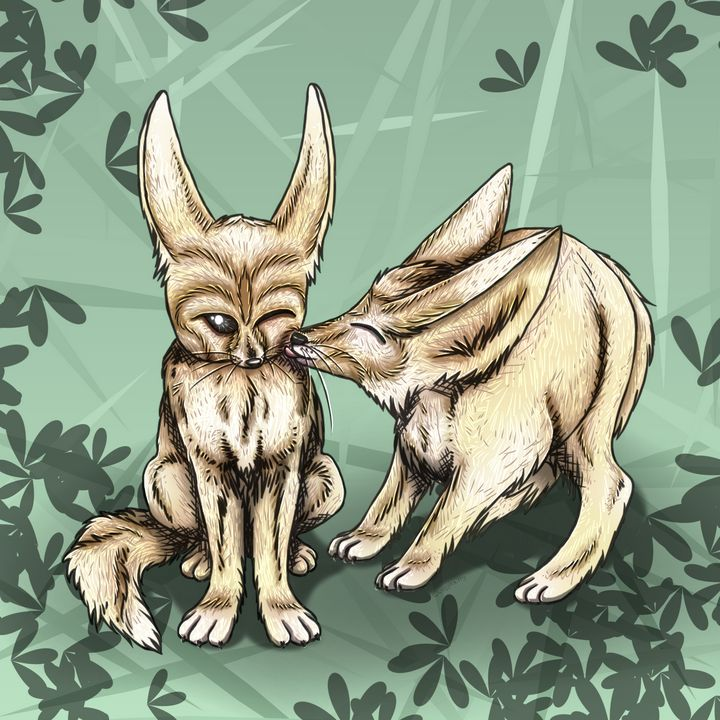 Nuzzling Fennec Foxes - WugglekittyWares